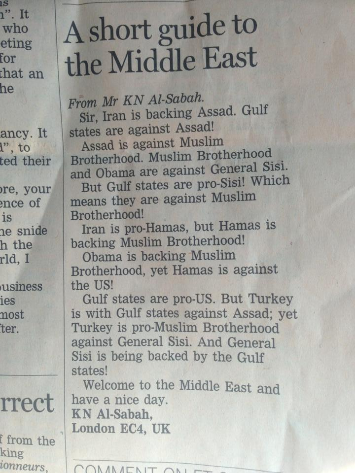 Letter to the editor of a London newspaper (trying to track that down), explaining who is who and who is whose enemy, in the Middle East.