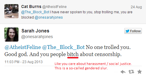 @onesarahjones Discovered your recent sexist slur. Stop harassing women like Cat Burns with your splash damage. http://twitter.com/RckBeyondBelief/status/371795865683247104/photo/1