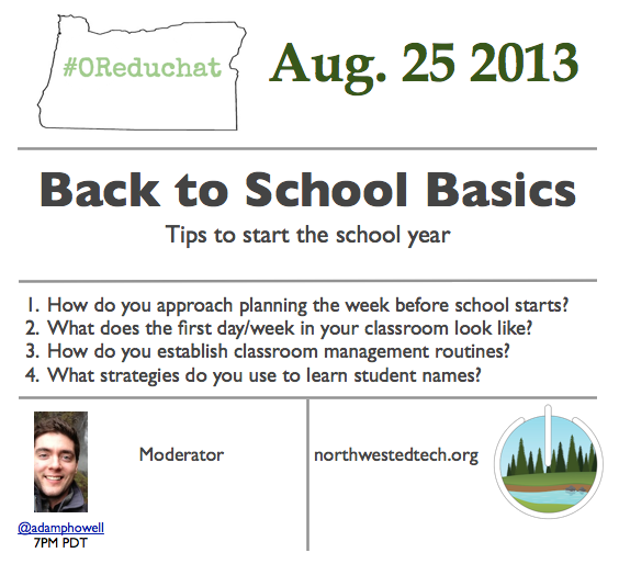 """Welcome everybody to the very first #OReduchat I'll be moderating for the next hour. Our topic is """"Back to Basics."""" http://twitter.com/adamphowell/status/371814574682411008/photo/1"""