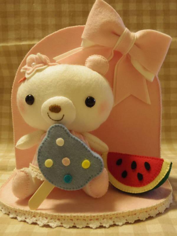 くまちゃんの四季お飾りセット☆7月「夏の食べ物」完成♪♪ #手芸 #handmadejp http://t.co/rXdN99sE6l