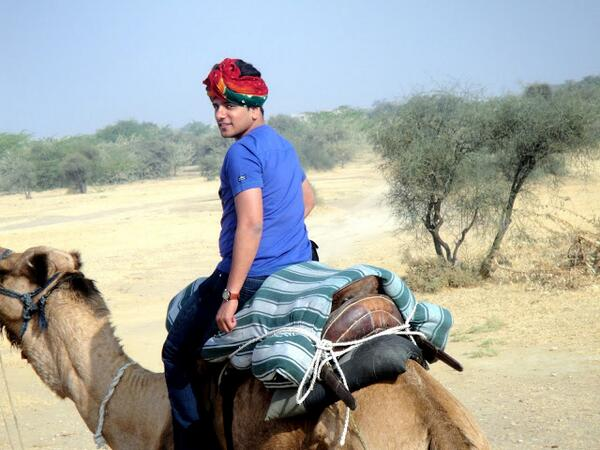 A2 Me with my adorable camel, Saiya in the deserts of #Khuri, #Jaisalmer This guy is too cool #travelindia http://twitter.com/amit_hiremath/status/372031607156142080/photo/1