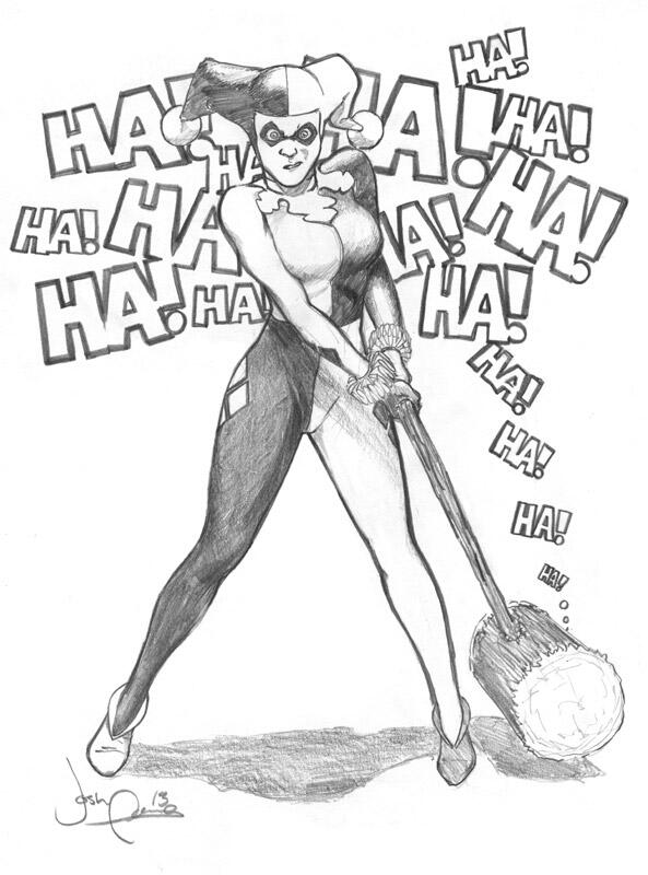 Josh adams on twitter heres a harley quinn pencil drawing i did at fan expo canada http t co cymrk5vgvw