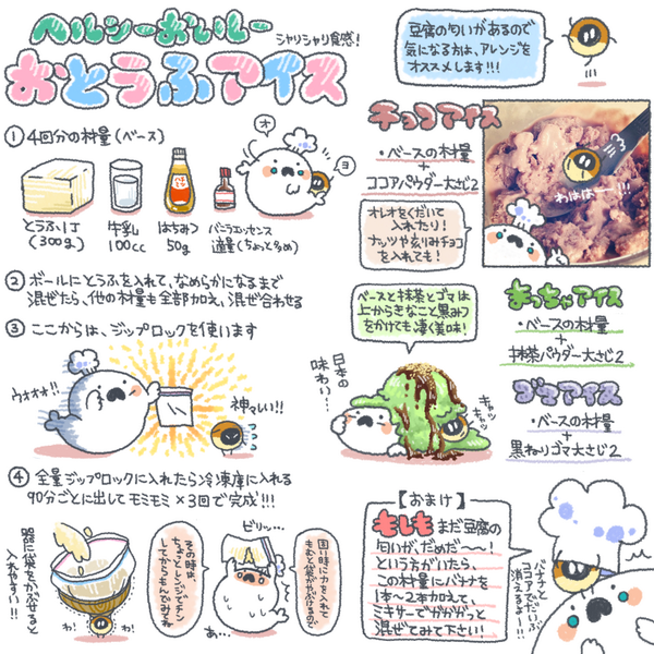 先日tweetした、お豆腐アイスのレシピをまとめました!٩(OO)۶