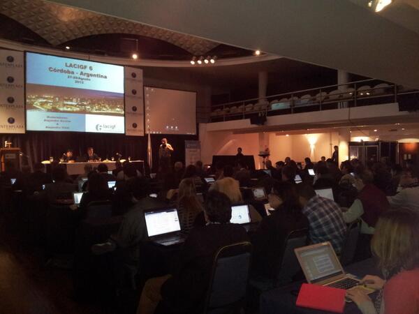 Sala llena/ Full room #LACIGF6: 160 inscriptos/registered, 36 becarios/scholarships, 25 países /countries http://twitter.com/lacigf/status/372344724096438272/photo/1