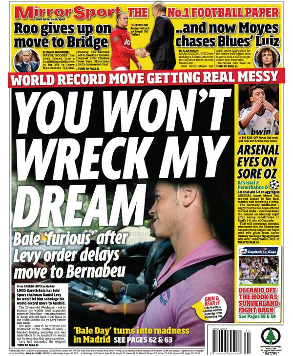 BStO8g1CAAInbzd The Gareth Bale Wednesday back pages: Angry forward will never train with Spurs again