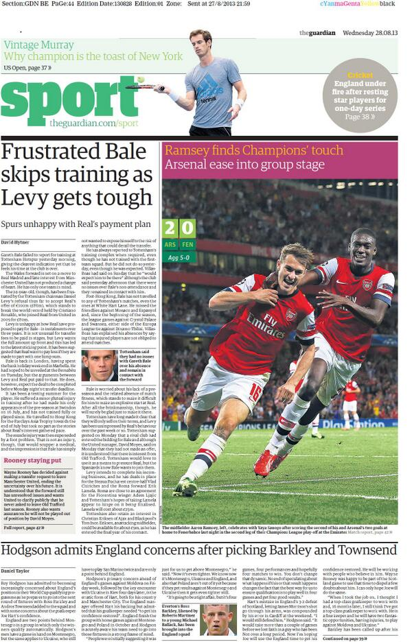 BStPHkfCAAAf9kO The Gareth Bale Wednesday back pages: Angry forward will never train with Spurs again