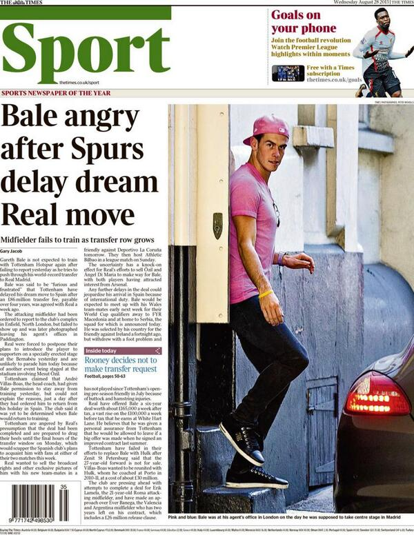The Gareth Bale Wednesday back pages: Angry forward will never train with Spurs again