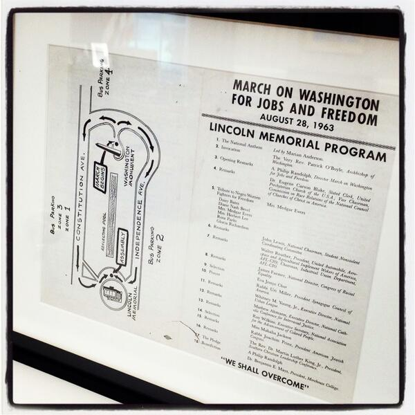 Framed copy of the program from 1963 March on Washington as displayed on shelf in the Oval Office http://twitter.com/petesouza/status/372766174079365120/photo/1