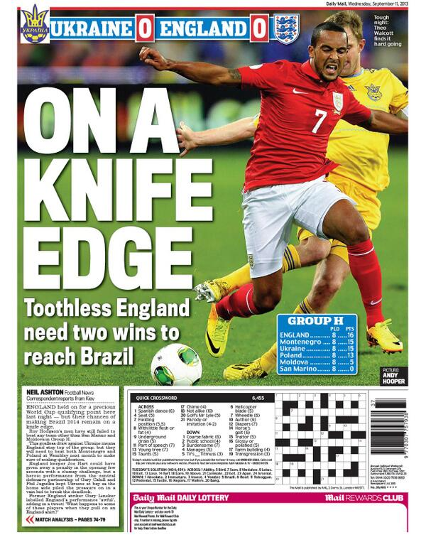 Roys Heroes! The Wednesday papers react to Englands bore draw with Ukraine