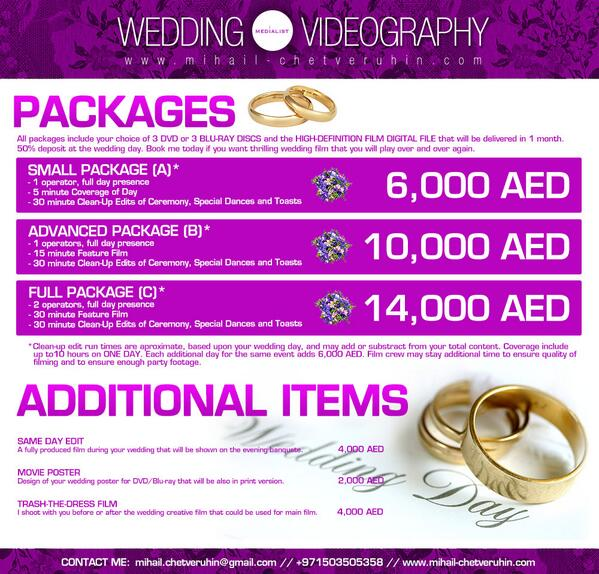 Medialist On Twitter Wedding Videography Pricelist Dubai By Mihailchetveruh Uae Http T Co F7a5ir8aan