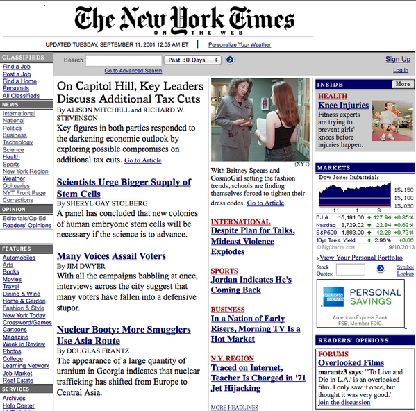 Before everything changed, this was the @nytimes homepage we woke up to on morning of 9/11. nyti.ms/17VSmsT http://twitter.com/nycjim/status/377744594223783936/photo/1
