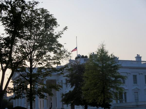 A solemn sight atop the White House of the flag at half staff on this 12th anniversary of the 9/11 attacks. http://twitter.com/markknoller/status/377759625946222592/photo/1