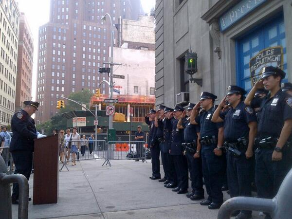 Capt Timoney & members of the 1st Pct in Lower Manhattan honor 23 NYPD who perished on 9/11 and others. #NeverForget http://twitter.com/NYPDnews/status/377776911810043904/photo/1