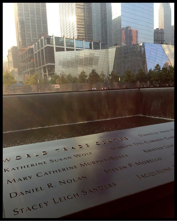 """@Sept11Memorial by the north pool. """"A city famous for toughness became legendary for kindness"""" #Honor911 http://twitter.com/JoeCDaniels/status/377794754047926272/photo/1"""
