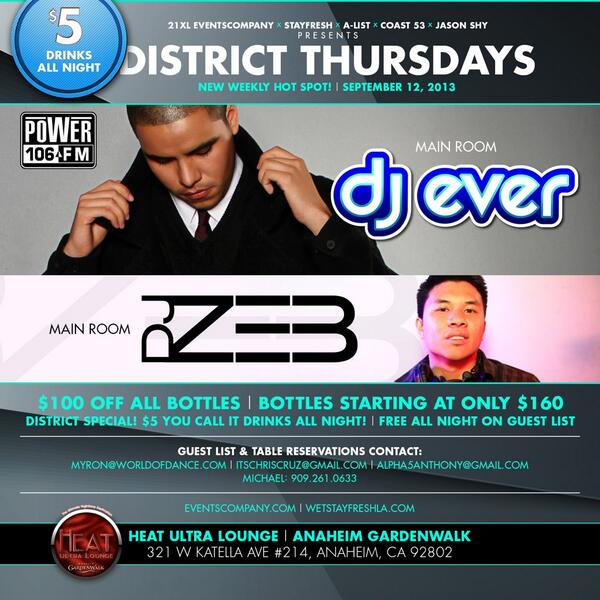 Tomorrow #DistrictThursdays at @HeatLoungeOC w/ @djever and myself.. Cant beat $5 drinks! http://t.co/gaPHMEjB5p