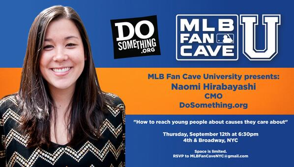 Excited to speak at @MLBFanCave tomorrow on behalf of @dosomething. In NYC? Come by! More info & RSVP here: http://t.co/VQliWPThxE