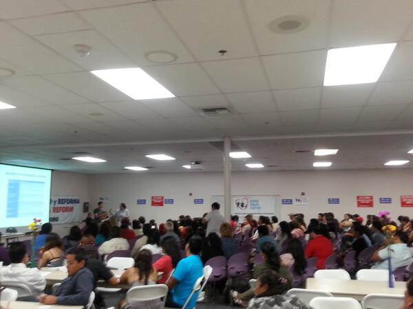 Full house at @chirla membership meeting. #immigrants familes fire up & ready to go 4 #immigration reform #TimeIsNow http://twitter.com/CHIRLA/status/373907863636152320/photo/1