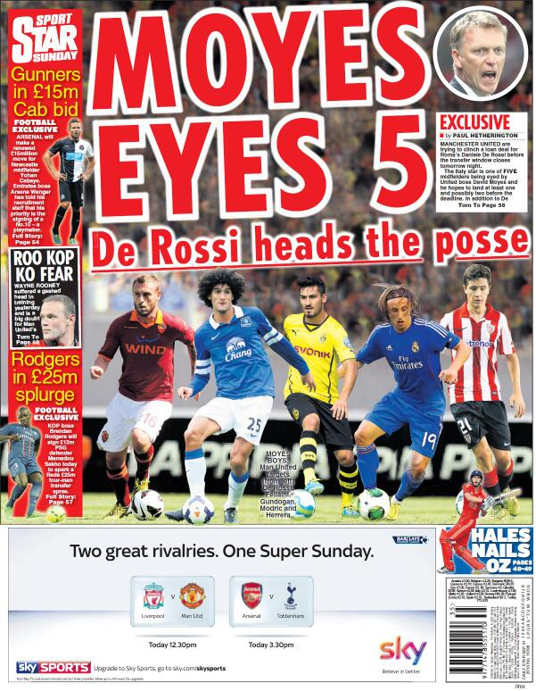 Man United linked to 5 midfielders, Fellaini & De Rossi the hot tips [Star & Telegraph]