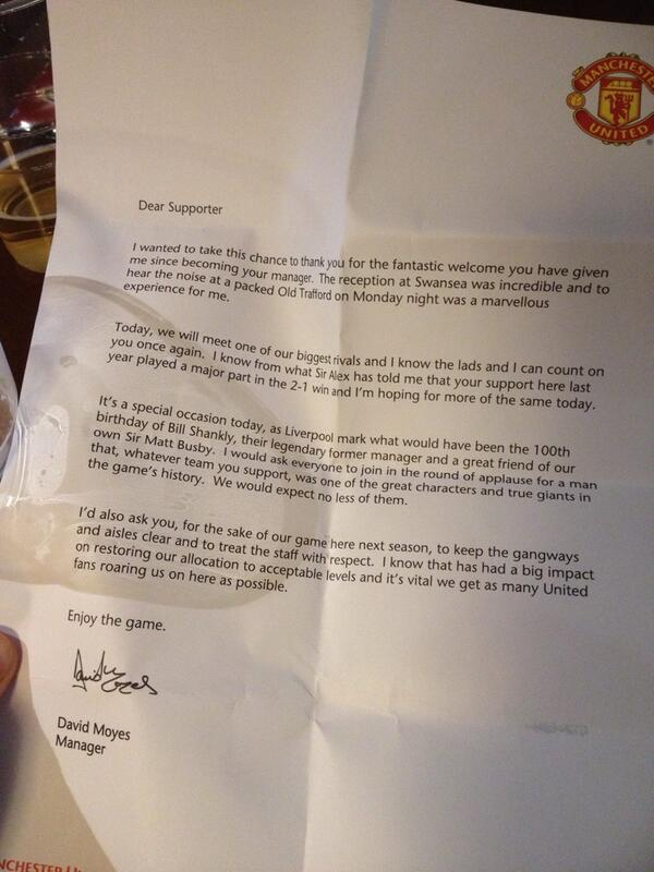 David Moyes wrote a letter to Man United fans attending Liverpool match [Picture]