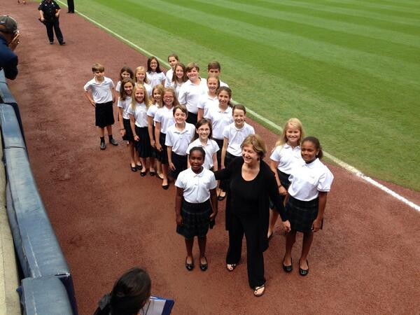 Trinity choir right after singing the National Anthem at today's Braves' game #trinitylearns http://twitter.com/JosephPMarshall/status/374578689469861889/photo/1