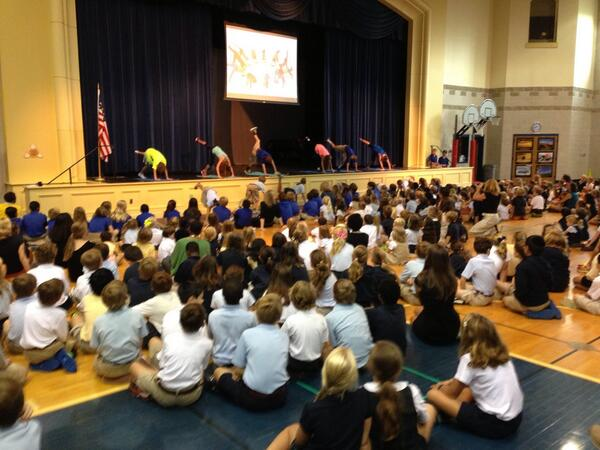 A little yoga at this morning's assembly to illustrate this year's theme: Keep Calm and Play On #trinitylearns http://twitter.com/JosephPMarshall/status/374876234398064642/photo/1