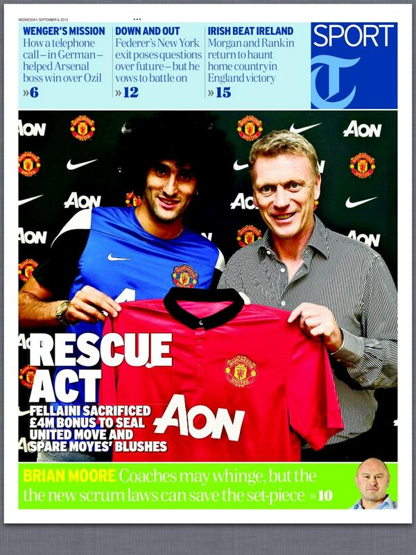 Marouane Fellaini sacrificed £4m bonus to secure United move & spare Moyes blushes [Times & Express]