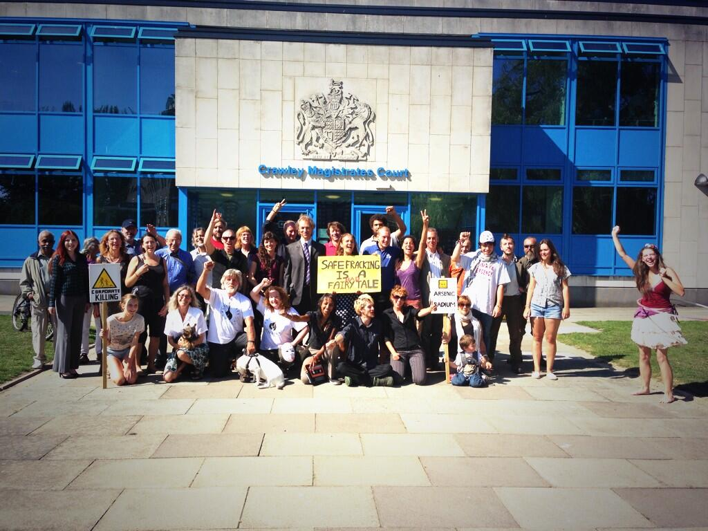 Protectors And Supporters Outside Magistrates Court In Crawley
