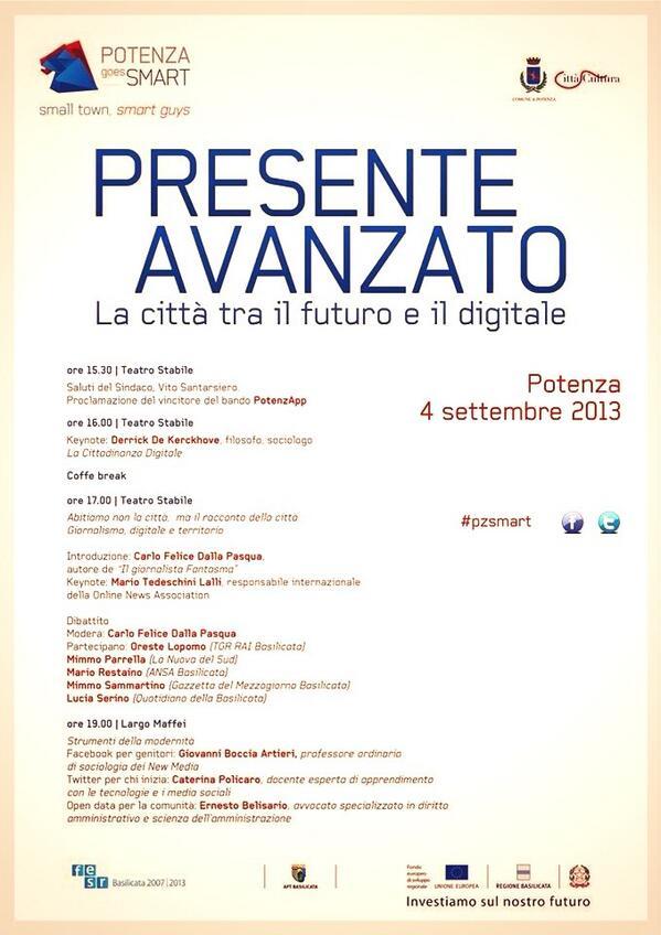 """Sure! MT @diritto2punto0: Oggi sarò nella """"mia"""" Potenza per parlare di innovazione e futuro. Venite? #pzsmart http://twitter.com/diritto2punto0/status/375212885020270592/photo/1"""