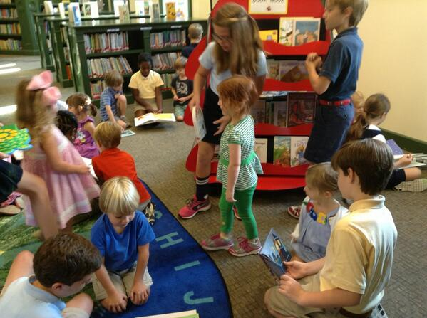 Fifth grade are reading to their Pre-K buddies at our new Ladybug Book Nook! #trinitylearns http://twitter.com/Meredith30082/status/375235900420399104/photo/1