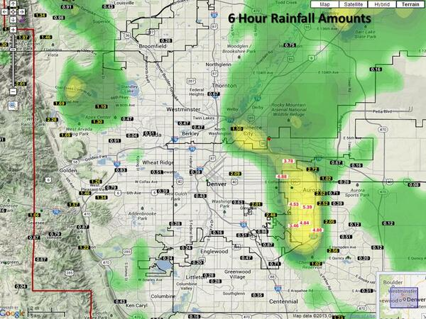 6 hour rainfall amounts for the Denver Metro Area as of 1:50 pm. http://twitter.com/NWSBoulder/status/378247173927759872/photo/1