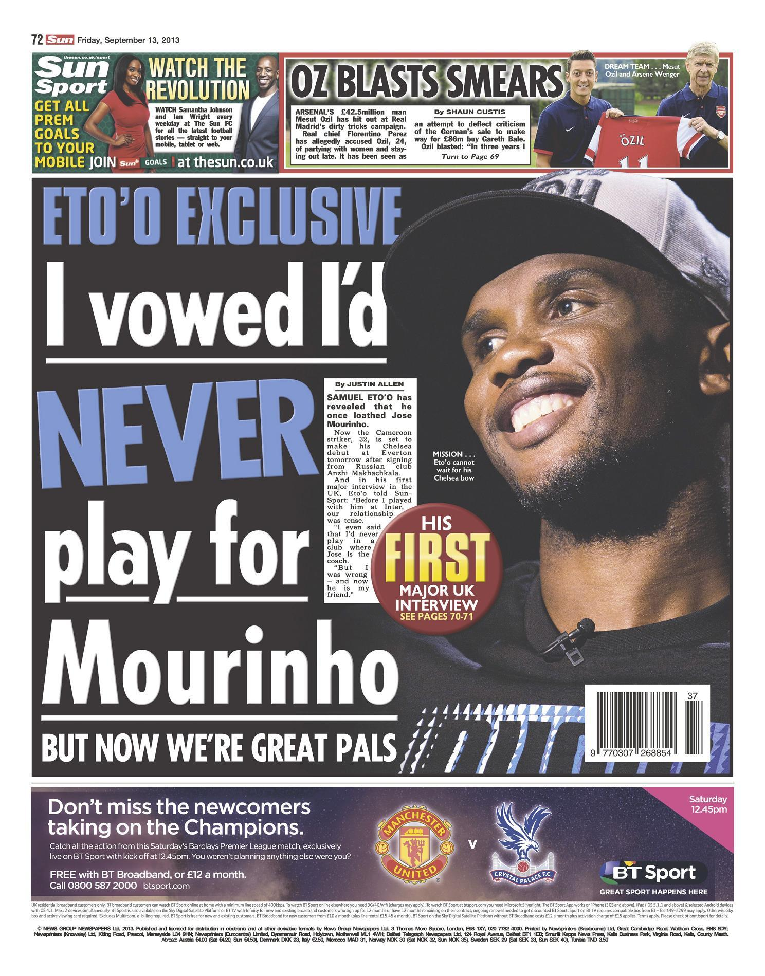 Chelseas Samuel Etoo in the Sun: I vowed Id never play for Mourinho