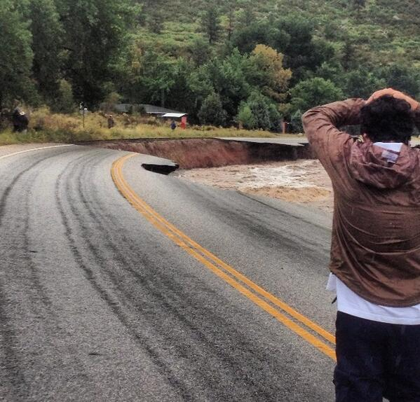 From a viewer in Lyons.  Wow.  #9news.  #boulderflood http://twitter.com/chrisvanderveen/status/378272295543779328/photo/1