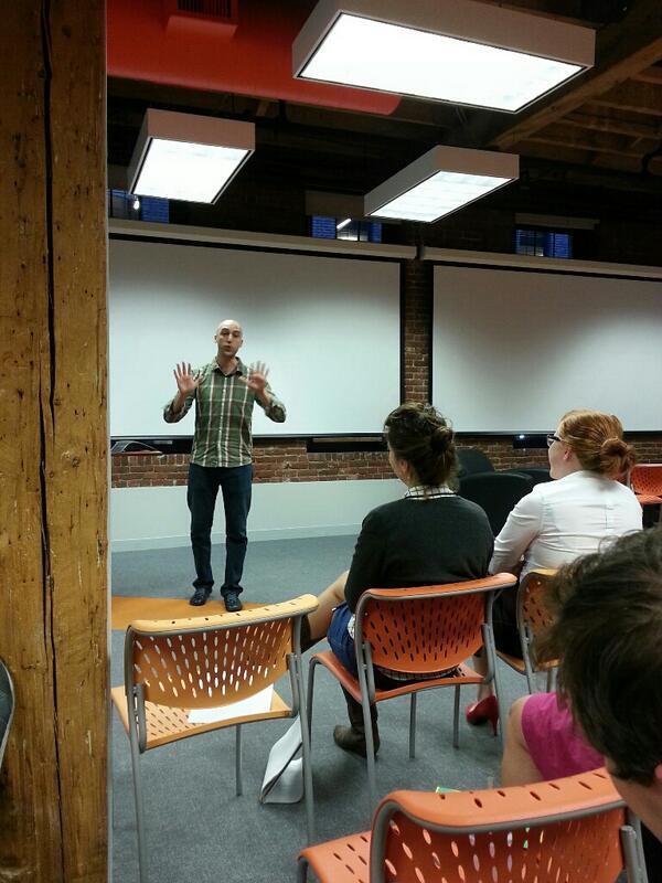 Adam Gerard discussing scrapple at Toastspot during his 4th speech.