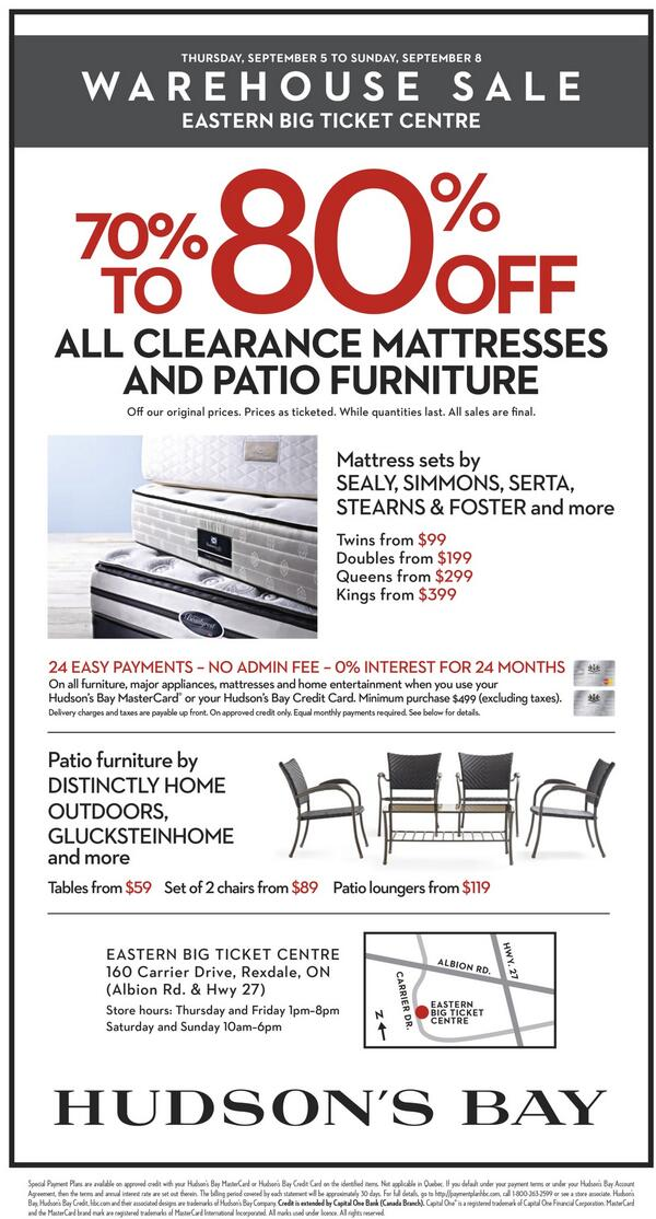 ... Outdoor Wicker Furniture; Hudson S Bay On Twitter Warehouse This  Weekend Only 70 80 Off Mattresses Patio Furniture At ... Part 68