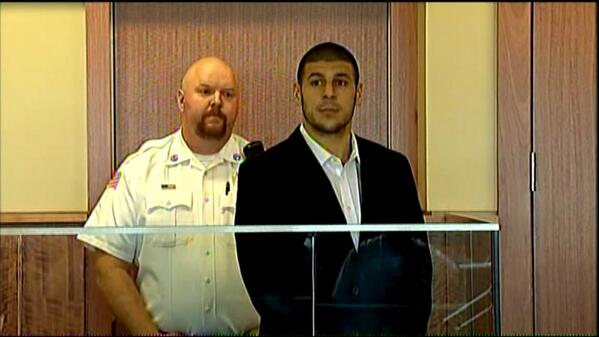 Aaron Hernandez in Fall River Superior Court for his arraignment #WBZ http://twitter.com/JoeGiza/status/376044479729262593/photo/1