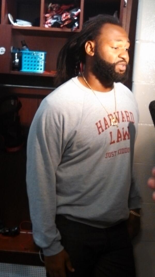 Brandon Spikes, with the best sweatshirt ever. http://t.co/2xU6Lvj76q