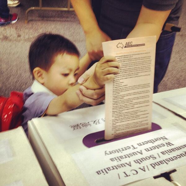 Our youngest voter so far - lodging ballot with help from dad. #ausvotes #hongkong #anvotes http://twitter.com/getgavin/status/376219462258548736/photo/1