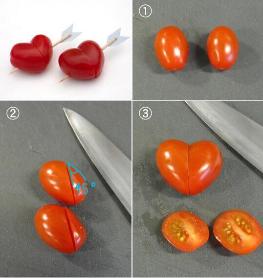 ミニトマトを簡単にハートにする方法。爪楊枝も矢みたいになっててかわいい(ミニトマトは細長い種類のアイコなどがいいと思います)🍅❤