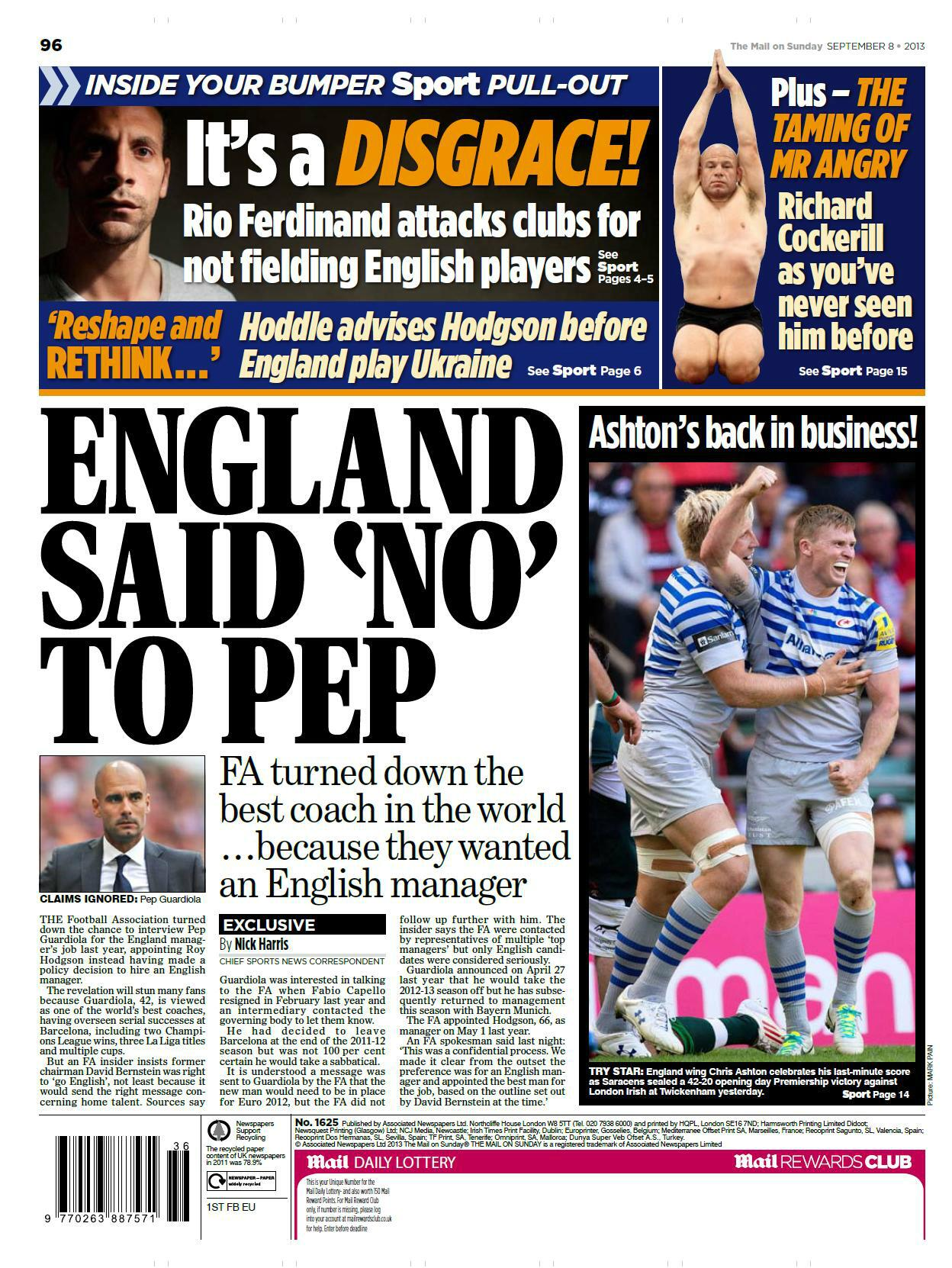 FA rejected Guardiolas application to become England boss because he was Spanish [Mail on Sunday]