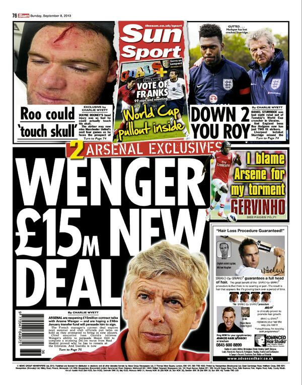 Arsenal offer Wenger new £15m contract + £40m January transfer budget [Sunday Sun]