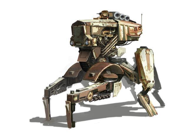 ルストメカ(鉄錆の機械)。イギリスに在住しているダレン・バートリー氏なるアーティストが発表しているイラストの一つ。貨物自動車のものと思えるキャビンやコンテナと感じられるパーツが機械の各部に描写されている。
