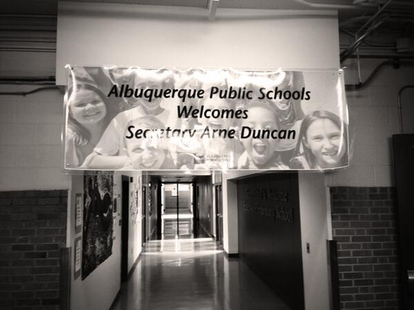 All ready for @arneduncan visit to @ABQschools Emerson Elementary School!  #edtour13 @usedgov http://twitter.com/apsescobedo/status/377101886047789056/photo/1