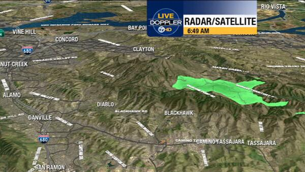 Radar shows smoke from  #MorganFire at Mt Diablo trailing over the Calaveras Fault towards the Altamont Pass. http://twitter.com/LiveDoppler7HD/status/377068153303347200/photo/1