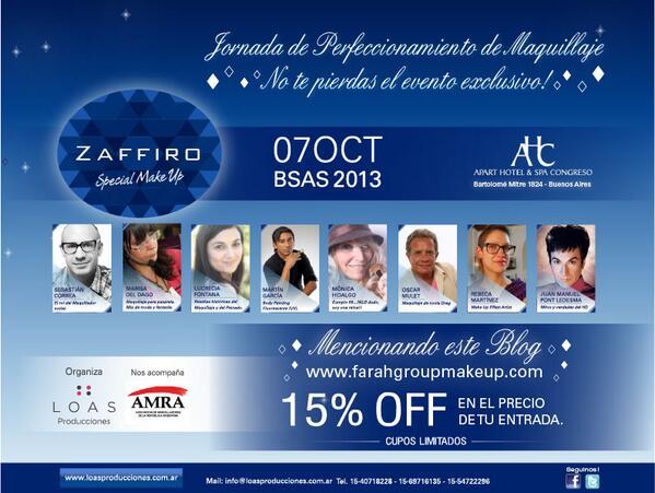 Ya llegó #ZaffiroSpecialMakeUp el primer evento para #MaquilladoresProfesionales en #Argentina 15% de descuento!!!pic.twitter.com/OzSwg2Uw8z