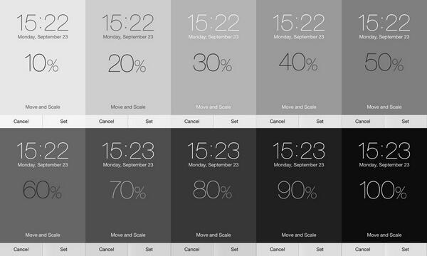 iOS7にして自分で背景を作ろうと思っていろいろ試していたところ、ロック画面の時計やホーム画面のアプリのタイトルの文字色が背景色の濃度によって、白くなったり濃いグレーになったりするので、どこに境界線があるのか調べてみました。