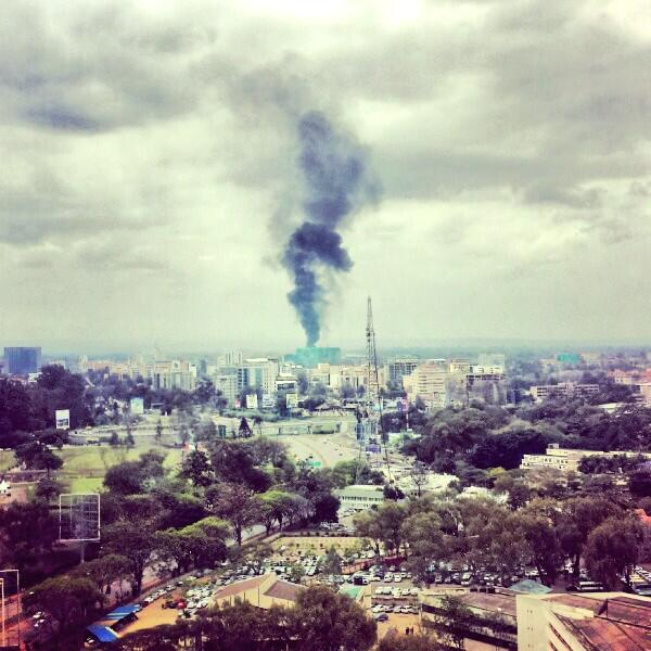 Plume of smoke from #Westgate Mall siege dominating Nairobi skyline. Extraordinary picture by @alykhansatchu #Kenya http://twitter.com/WilliamsJon/status/382154833198710784/photo/1