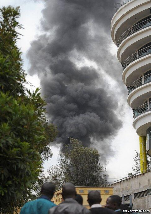 Photo: Smoke billows from #Westgate centre - follow our coverage of Nairobi stand-off http://bbc.in/1eBFZIU & http://twitter.com/BBCWorld/status/382154824378114048/photo/1