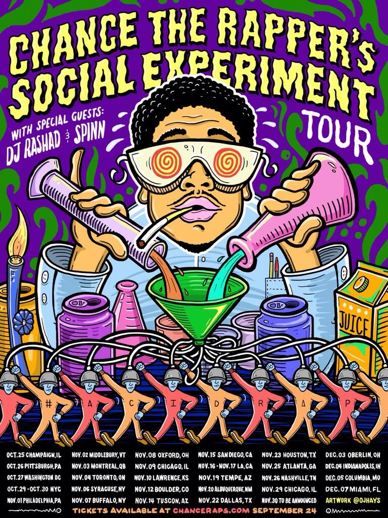 RT @chancetherapper: I'm so happy to finally announce my first headlining tour. We're bringing AcidRap on the road. #SocialExperiment http:?