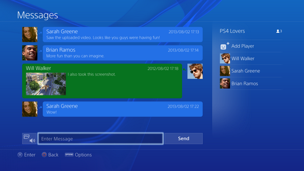 PS4 User Interface Image Showing Speaker Icon