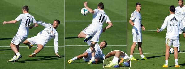 Ouch! A zoomed in photo of Cristiano Ronaldos studs up challenge on Gareth Bale